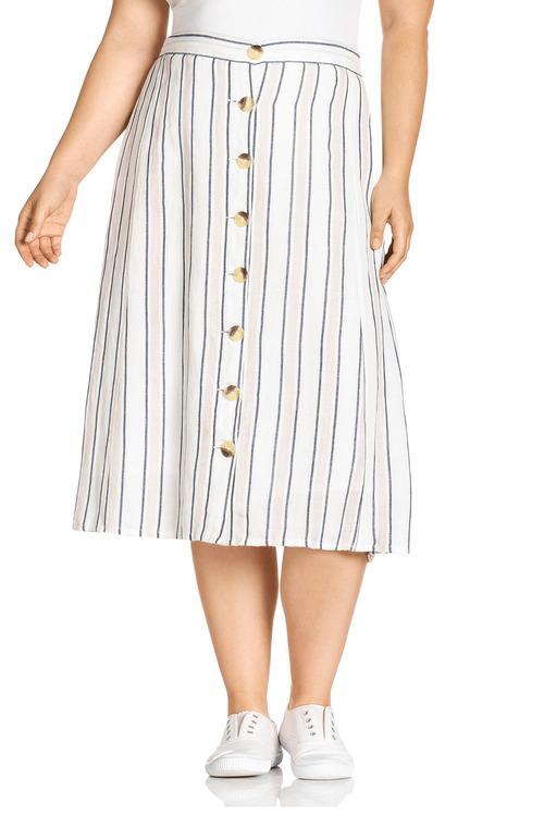 Plus Size - Sara Button Pocket Stripe Skirt