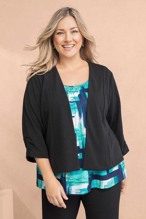 Plus Size - Sara Ruched Sleeve Jacket