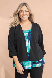 Plus Size - Sara Ruched Sleeve Jacket