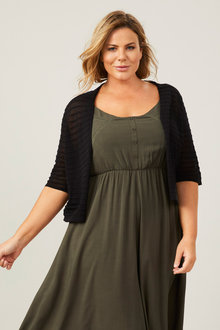 Plus Size - Sara Self Stripe Cardi