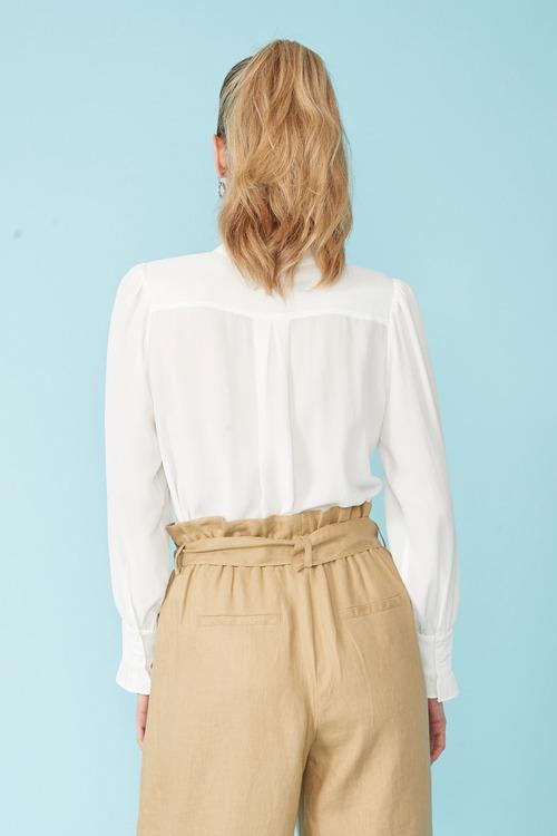 Simply You Silk Ruffle Cuff Shirt