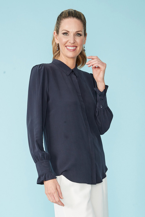 Simply You Silk Ruffle Cuff Shirt