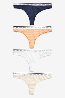 Next Cotton Rich Logo Knickers Four Pack- Thong