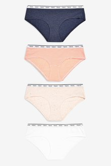 Next Cotton Rich Logo Knickers Four Pack- Short