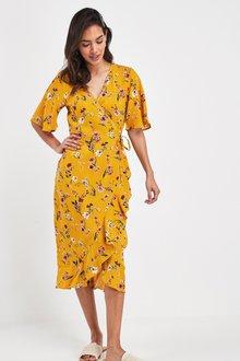 Next Floral Print Wrap Dress