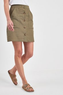 Next Button Linen Blend Mini Skirt