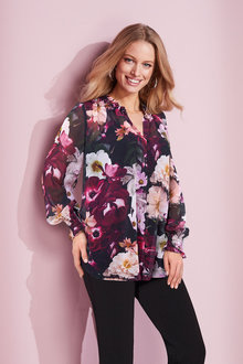 European Collection Printed Shirred Detail Shirt - 236321