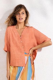 Emerge Linen Blend Button Shirt - 236327