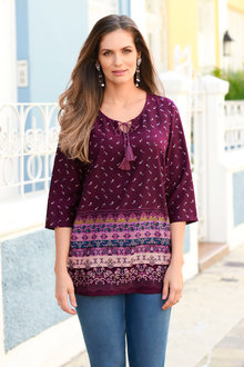 Euro Edit Border Print Top - 236339