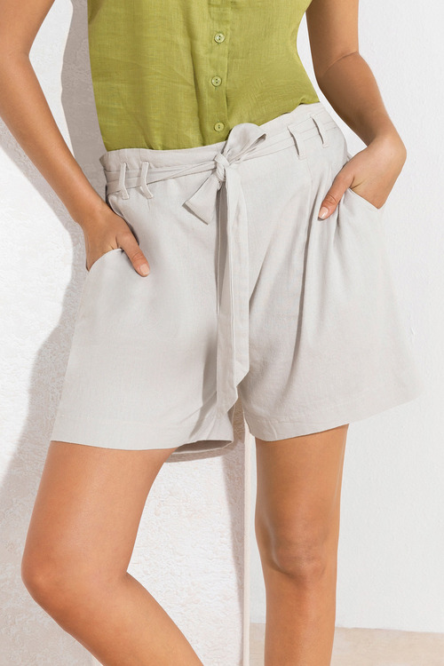 Emerge Linen Blend Paperbag Waist Shorts
