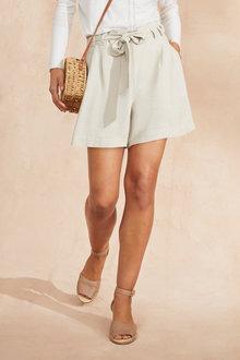 Emerge Linen Blend Paperbag Waist Shorts - 236357