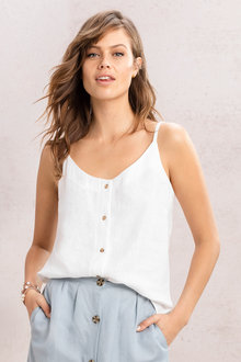 Emerge Linen Blend Button Cami - 236358