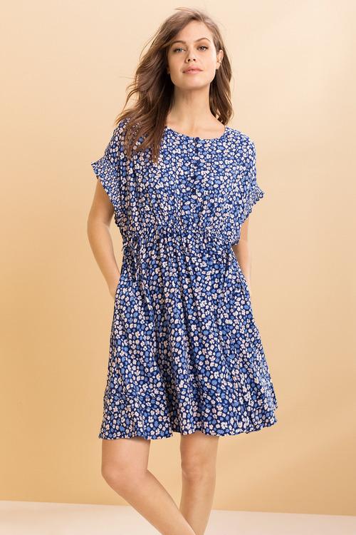 Emerge Pleat Detail Tie Waist Dress
