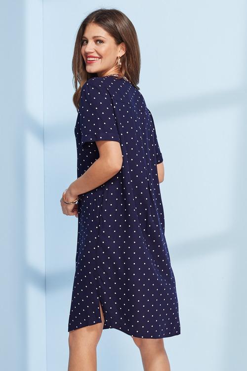 European Collection Spot Print Tunic Dress