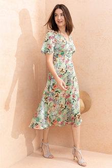 Capture V Neck Flutter Sleeve Dress - 236364