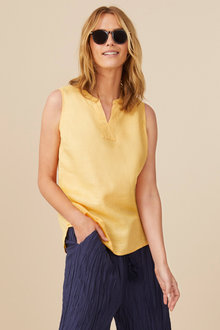 Capture Linen Notch Neck Tank - 236367