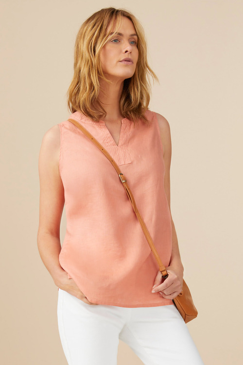 Capture Linen Notch Neck Tank
