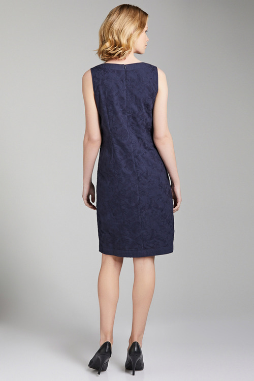 Capture Lace Notch Neck Shift Dress