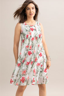 Capture Pleat Front Sleeveless Dress