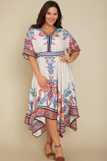 Plus Size - Sara Scarf Print Dress - 236420
