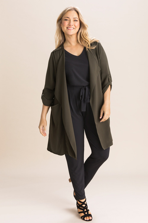 Plus Size - Sara Crepe Longline Jacket