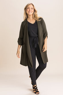 Plus Size - Sara Crepe Longline Jacket - 236421