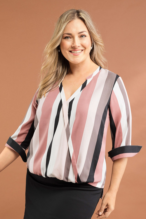 Plus Size - Sara Stripe Crossover Top