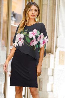 Euro Edit Dress with Chiffon Overlay - 236427