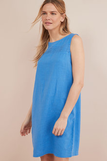 Next Linen Blend Shift Dress- Tall