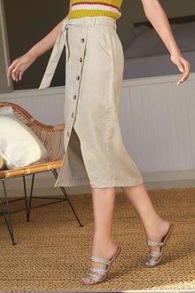 Next Pure Linen Button Detail Skirt- Tall