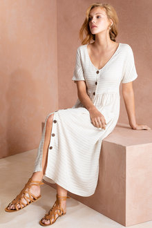 Grace Hill Self Stripe Button Midi Dress
