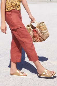 Next Pure Linen Cropped Trousers- Tall