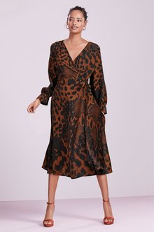 Next Animal Print Tie Wrap Dress- Tall