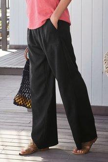 Next Linen Blend Wide Leg Trousers- Tall