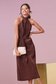 Next Pleated Halter Neck Dress- Tall