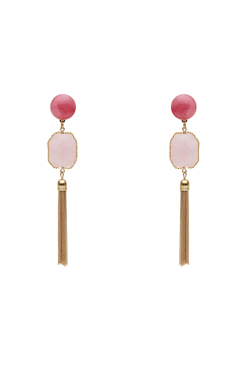 Amber Rose Pretty in Pink Tassle Statement Earrings