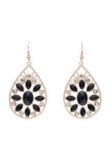 Amber Rose Teardrop Floral Statement Earrings