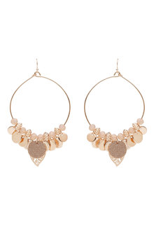 Amber Rose Multi Charm Stamped Hoop Statement Earrings
