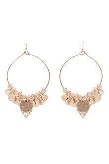 Amber Rose Multi Charm Stamped Hoop Statement Earrings - 236568