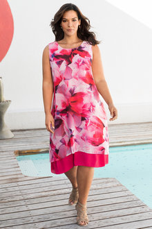 Plus Size - Sara Floral Chiffon Dress - 236576