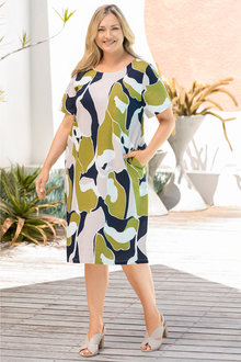 Plus Size - Sara Drape Print Dress