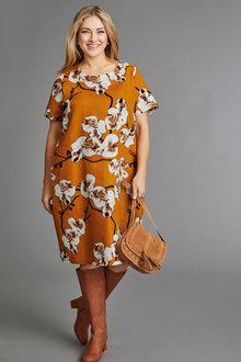 Sara Drape Print Dress - 236609