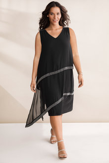 Plus Size - Sara Embellished Layered Dress - 236610