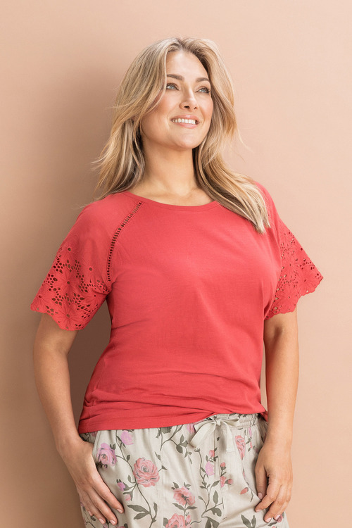 Plus Size - Sara Lace Sleeve Tee