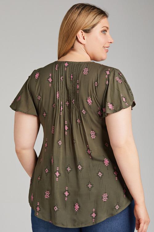 Plus Size - Sara Pleat Detail top