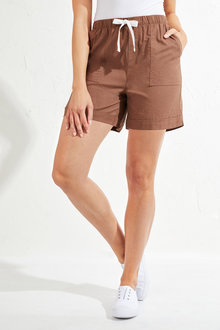 Emerge Linen Blend Drawstring Shorts - 236621