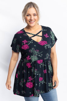 Plus Size - Sara Criss Cross Print Top