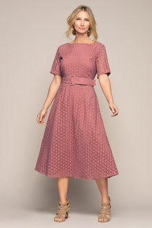Grace Hill Broderie Belted Dress - 236691