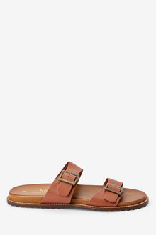 Next Leather Double Buckle Footbed Sandals