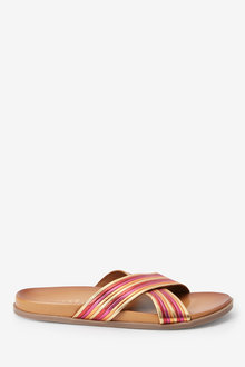 Next Leather Cross Strap Footbed Sandals